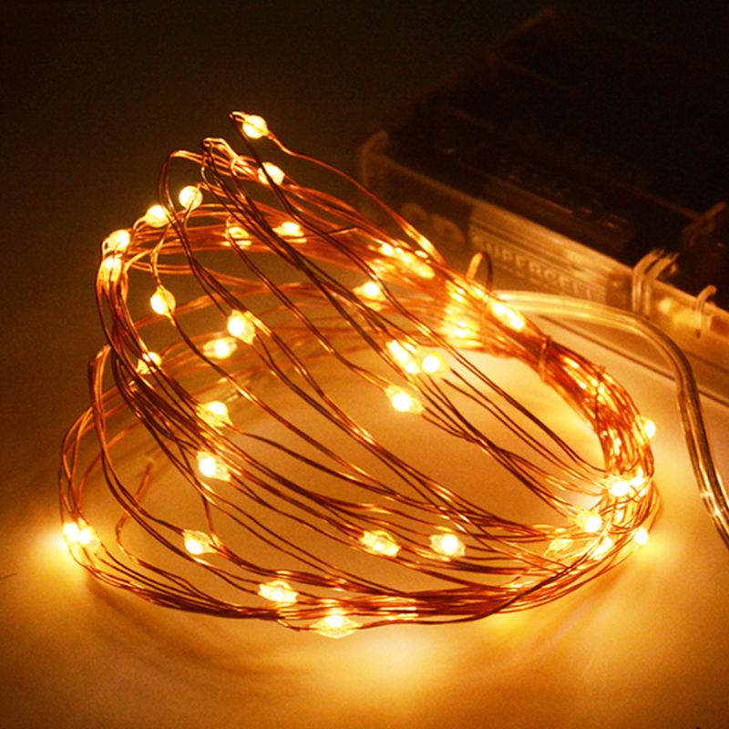 SPLEVISI 2M 5M 10M 20M Led Copper String Fairy Lights Garland Battery Operated Wedding Party Christmas Decorative Light Indoor