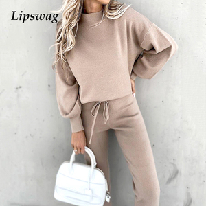 Fashion Tracksuit 2 Piece Set Autumn Winter Pullover Hoodie + Long Pants Sports Suit Female Sweatshirt Sportswear Suit For Woman