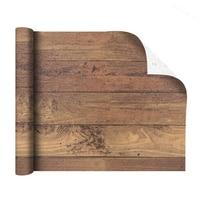 Retro Stil Schälen Und Stick Dunkelbraun Holz Tapete Selbst Klebe Aufkleber Abnehmbare Rustikalen Faux Distressed Wasserdichte Tapete