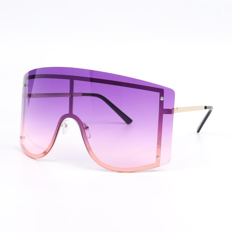 Oversized Women Blue Yellow Gradient Sunglasses Fashion Rimless Metal Female Shades Luxury Brand Designer Personality Eyewear 7