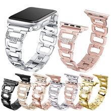 Essidi-Correa de pulsera de diamante brillante para Apple Watch, pulsera de lujo para Apple Watch Series 6 SE 5 4 3 2 1, Correa de reloj de acero inoxidable 38 40 42 44mm