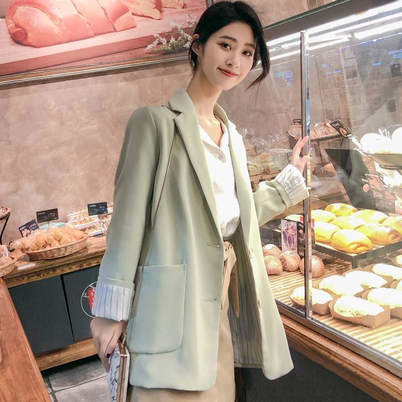Korean Loose Ladies Blazer Solid Green Casual Stylish Suit Jacket Simple Blezer Feminino Vintage Women's Clothing New MM60NXZ