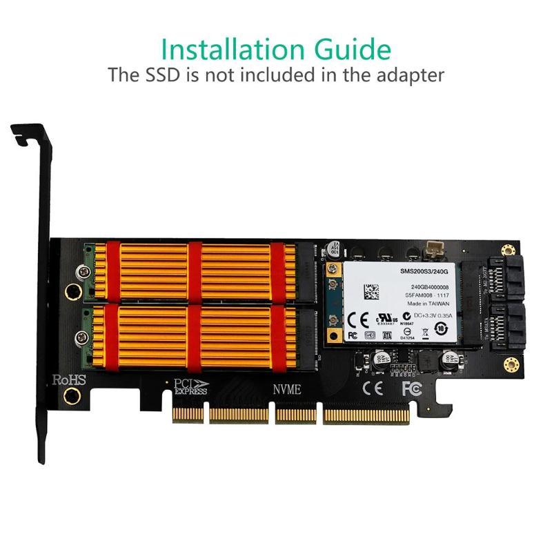 M.2 NVMe SSD NGFF MSATA To PCI-E X4/X8/X16 Raiser M Key B Key MSATA 3in1 PCI Express Riser Card MSATA SSD PCIE M.2 SATA Adapter