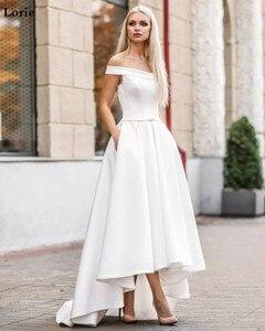 Image 5 - Lorie 2019 Boho Wedding Dress with Pocket  Hi Lo Bride Dresses Vestido de novia Satin Off The Shoulder Elegant Wedding Gown