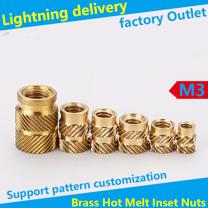 Brass Hot Melt Insert Nuts Heating Molding Copper Thread Inserts Nut SL-type Double Twill Knurled Injection Brass Nut M3 100Pcs
