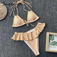Simplee Striped ruffled swimwear Triangle push up two piece beach swimsuit Halter bikini sexy swimwear women summer swimwear