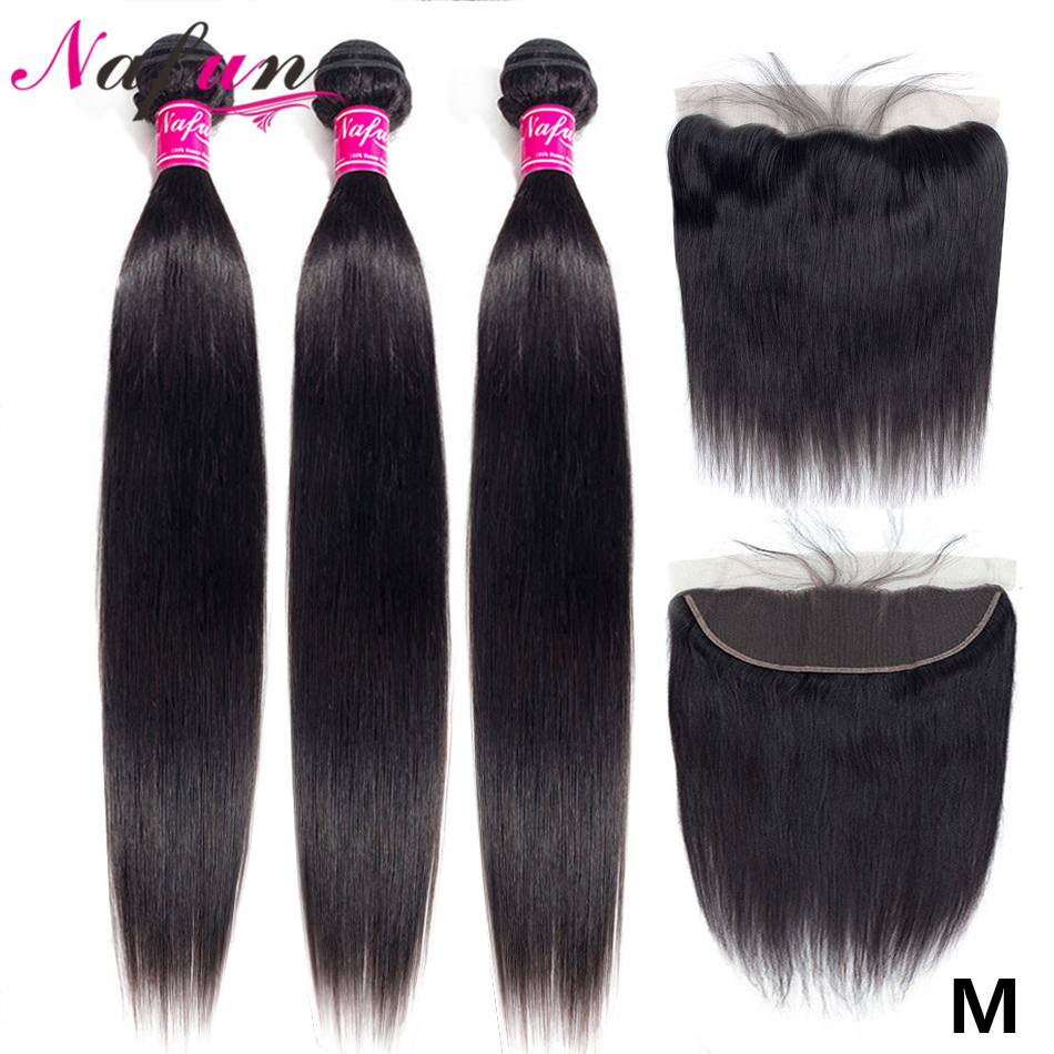 NAFUN Brazilian Straight Hair Bundles With Lace Frontal Human Hair Bundles With Frontal Non-Remy Hair Extensions Middle Ratio