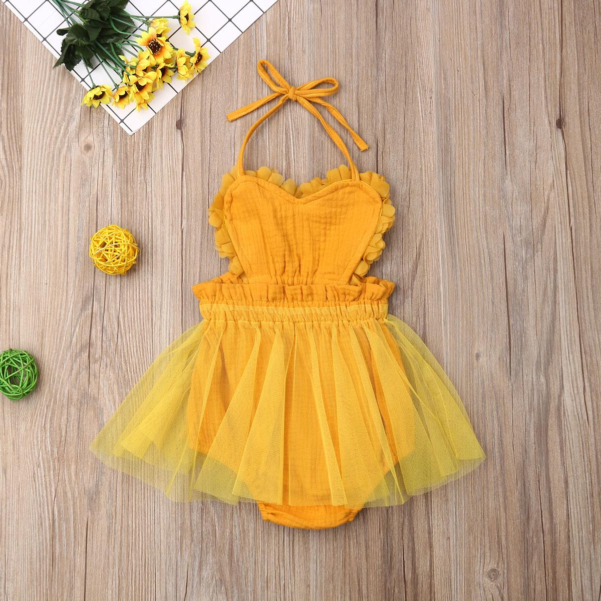 2020 New Cute Baby Girl Bodysuit Dress Halter Lace-up Lace Sundress Summer Baby Girl Sleeveless Backless Tulle Dress 0-18M