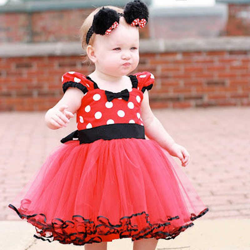 Vestido de Minnie Mouse para bebés, vestido de bautizo para bebés, ropa para niños, ropa para bebés, trajes de fiesta de cumpleaños, vestidos para niñas