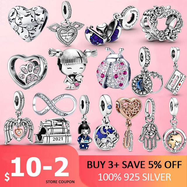 Silver Charm 925 Sterling Silver Ladybug infinity footprint Beads Pink Clear CZ Charms Fit Original Pan Bracelet Jewelry 1