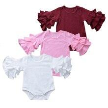 Осенние Комбинезоны для маленьких девочек; одежда для маленьких девочек; розовые комбинезоны для малышей; комбинезон с расклешенными рукавами; Одежда для новорожденных; хлопковый комбинезон для малышей