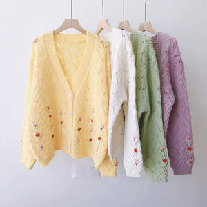 Sweet Hand Embroidered Cardigans Women Fashion Embroidery Sweater New Autumn Winter Ladies Knit Loose Casual Korean Version
