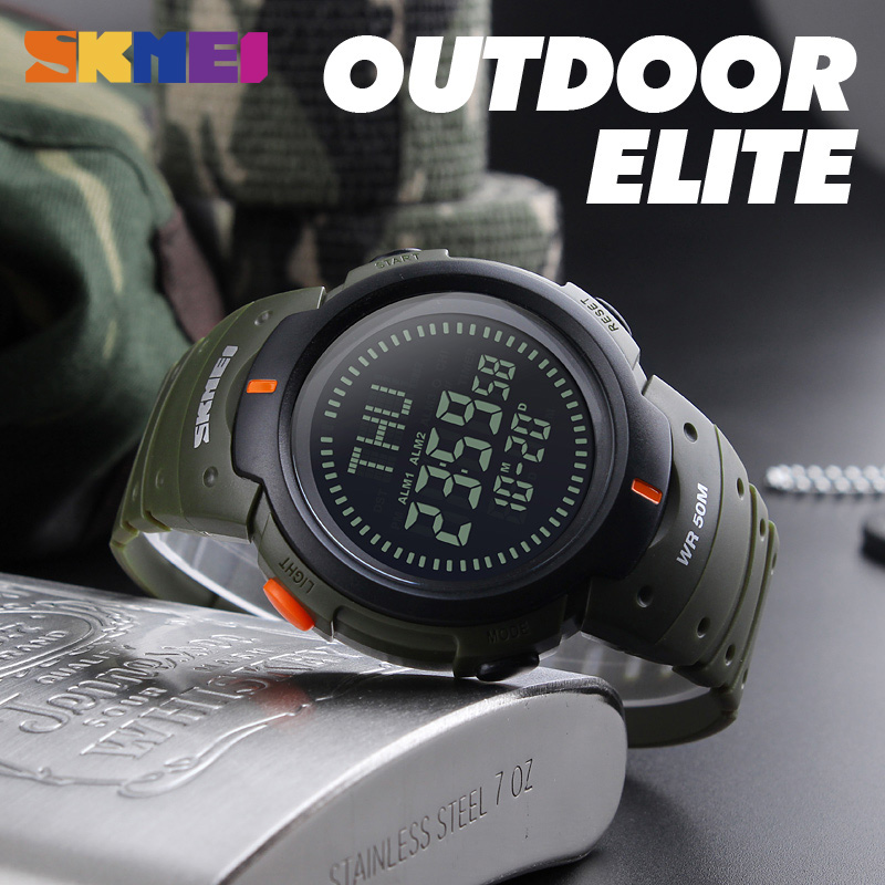 SKMEI Japan Digital movement 50m Waterproof Male Wrist Watch military Compass Stopwatch Chronograph Sport men Watches Clock 1231 1