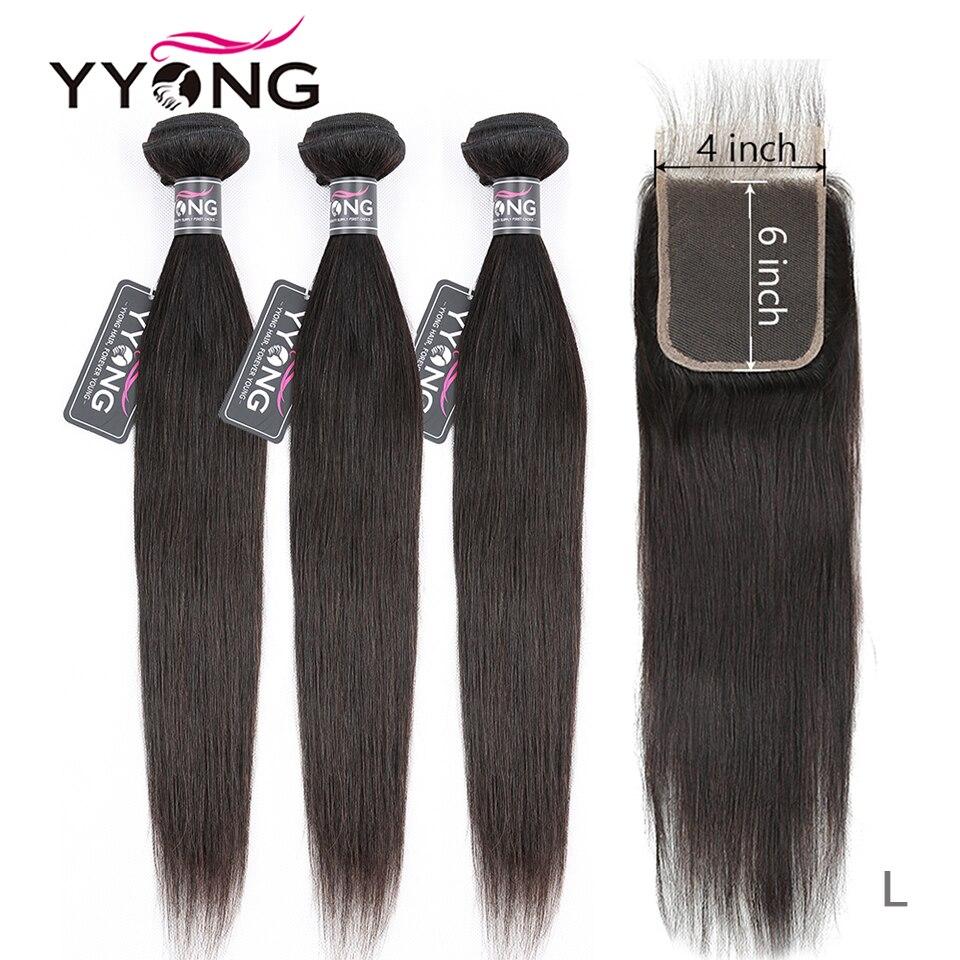 YYong brasileño recta 3 mechones con cierre, 6x6 Cierre de encaje con mechones Remy 8-30 pulgadas Paquete de cabello humano con cierre de encaje