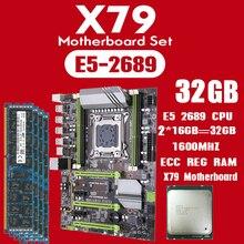 Kllisre carte mère X79, carte mère avec Xeon E5 2689, 2 go 16 go = 32 go 1600MHz DDR3 ECC REG, ATX USB3.0 SATA3 PCI E SSD M.2