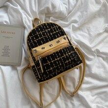 FANTASY Newest PU Leather Fashion Backpack Women High Capacity Rivet Lattice Style Female School Bgas Travel Bag Good Quality