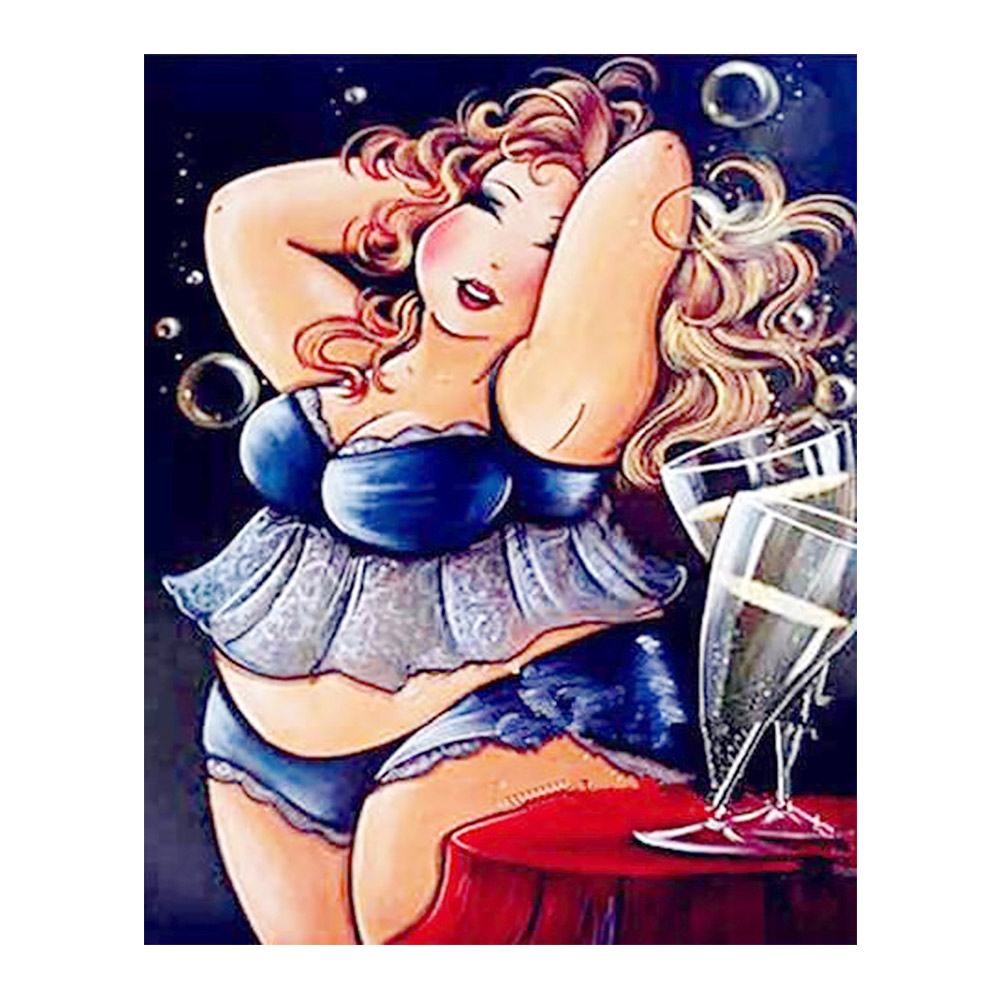 <font><b>sexy</b></font> women <font><b>fat</b></font> portrait wine Moge Diamond Painting Cross Stitch red wine Full Round New DIY 5D home decorative Mosaic Embroidery image