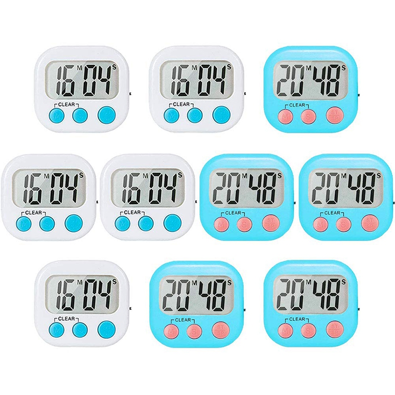 10 Pack Small Digital Timer for Kids Classroom Timers for Teacher Strong Magnetic Loud Alarm Minute Second Count Up Countdown Wh|Kitchen Timers| |  - title=