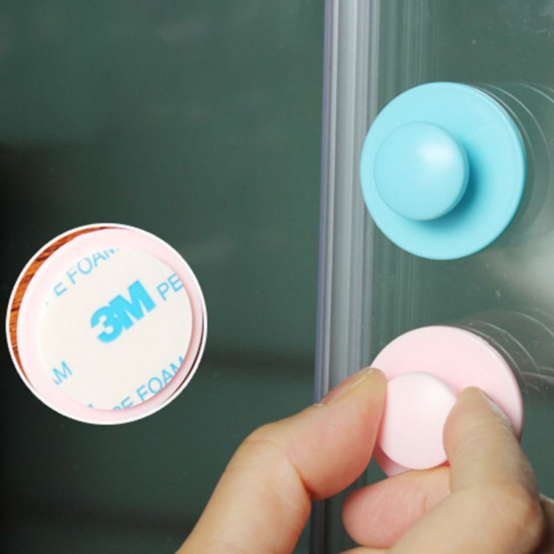 10pcs Kids Children Double Sided Self Adhesive Sliding Door Pull Handle Cupboard Window Drawer Cabinets Cute Gadget Random Color