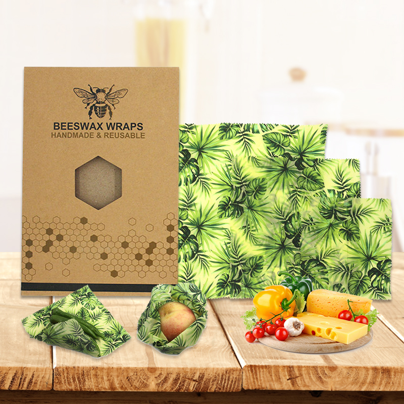 3Pcs Food Wax Paper Reusable Beeswax Fresh Cloth Wraps Eco-Friendly Food Cover
