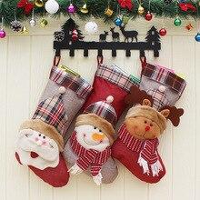 """Новые рождественские Подвески """"чулки"""", елочные украшения, новогодние подарки, носки со снеговиком и Клаусом, Рождественская елка"""