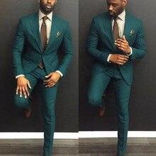 Изготовленный На Заказ зеленый Свадебный смокинг для лучших мужчин модный мужской костюм жениха приталенный смокинг жениха для мужчин(пиджак+ брюки) Жених Ebelz