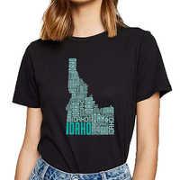 Tops T Shirt Frauen idaho typografie karte Fit Inschriften Drucken Weibliche T-shirt