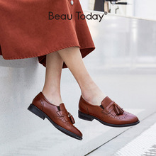 BeauToday Fringe Loafers Women Genuine Calf Leather Brogue Wingtip Round Toe Cas