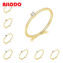 Ailodo Wedding Rings For Women Multicolor Mini Cubic Zirconia Gold Color Engagement Rings Fashion Jewelry Christmas Gift 20SEP31