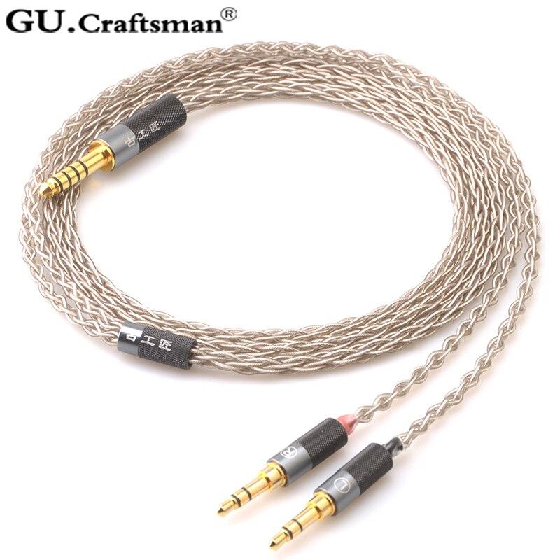 Guartisan 6n argent pour Beyerdynamic T1 2nd elear STELLIA Elegia AT-D5200 D7200 D9200 ANANDA Arya câble de mise à niveau des écouteurs