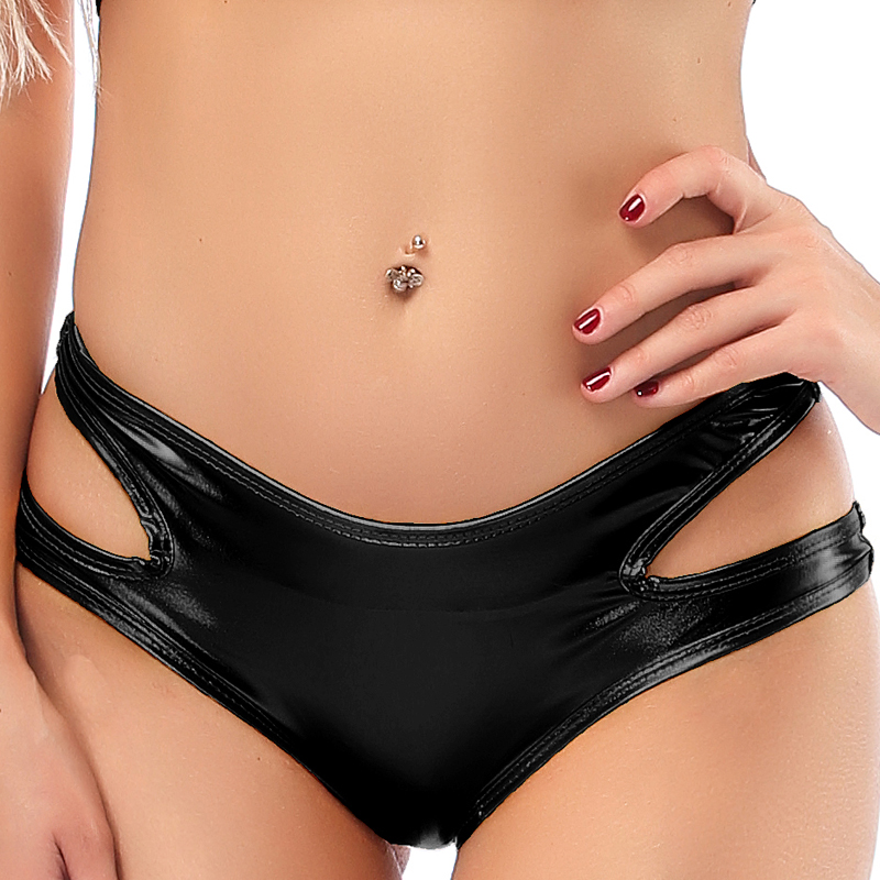 Hollow Out Low Waist PU Leather Hot Sexy Biker Booty Shorts Wetlook Shiny Pole Dance Night Clubwear Micro Mini Short Women Panty