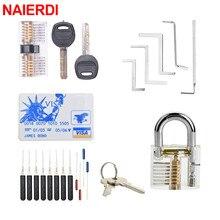 NAIERDI слесарные инструменты, набор замков, экстрактор сломанных ключей с прозрачными замками, Комбинированный Замок для тренировок