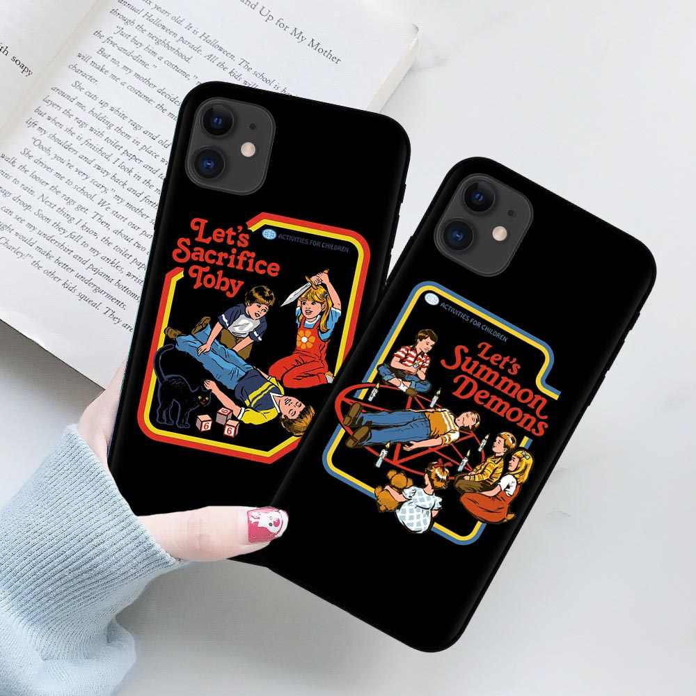Funny Halloween Satan Vintage Let's Summon Demons Graphic Black silicone Phone Case For iPhone XR X XS 11 Pro Max 8 7 6 6S Plus
