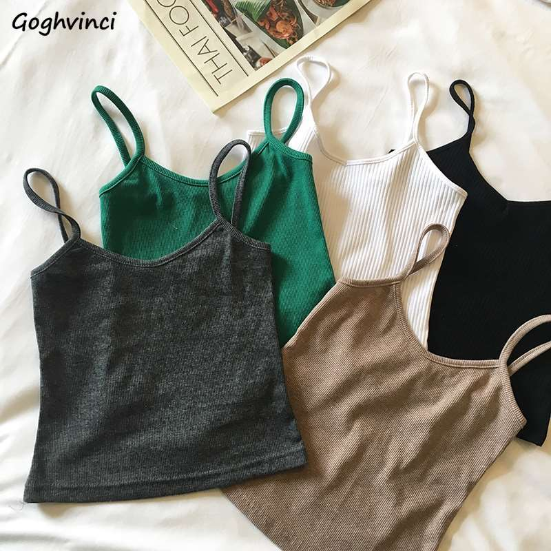 Camis Women Summer Spaghetti-strap Knitting Sexy Slim Womens Tops Camisoles Leisure Trendy Solid Elegant Sleeveless Chic Ulzzang