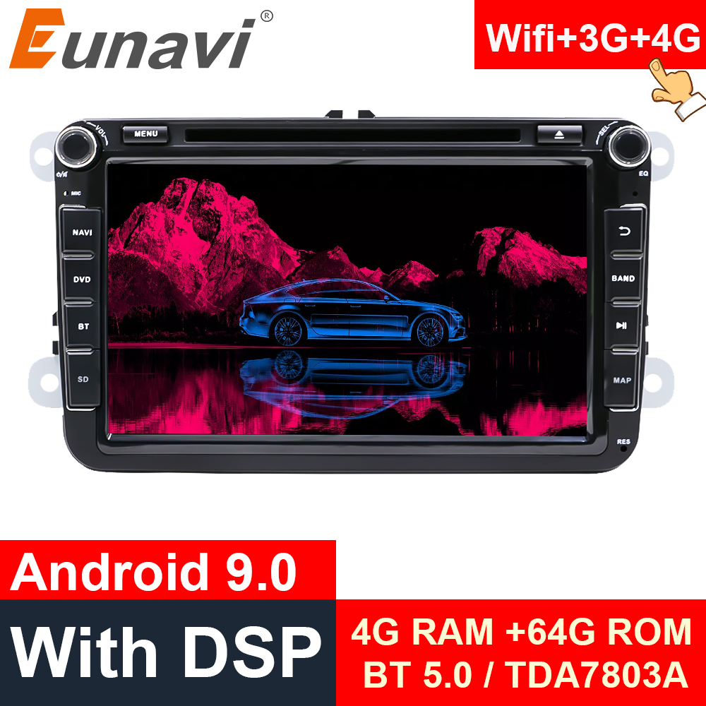 Eunavi 2 Din Android 9,0 Octa Core автомобильный DVD для VW Passat CC Polo GOLF 5 6 Touran EOS T5 Sharan Jetta Tiguan GPS Радио сиденье DSP