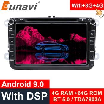 цена на Eunavi 2 Din Android 9.0 Octa Core Car DVD For VW Passat CC Polo GOLF 5 6 Touran EOS T5 Sharan Jetta Tiguan GPS Radio Seat DSP