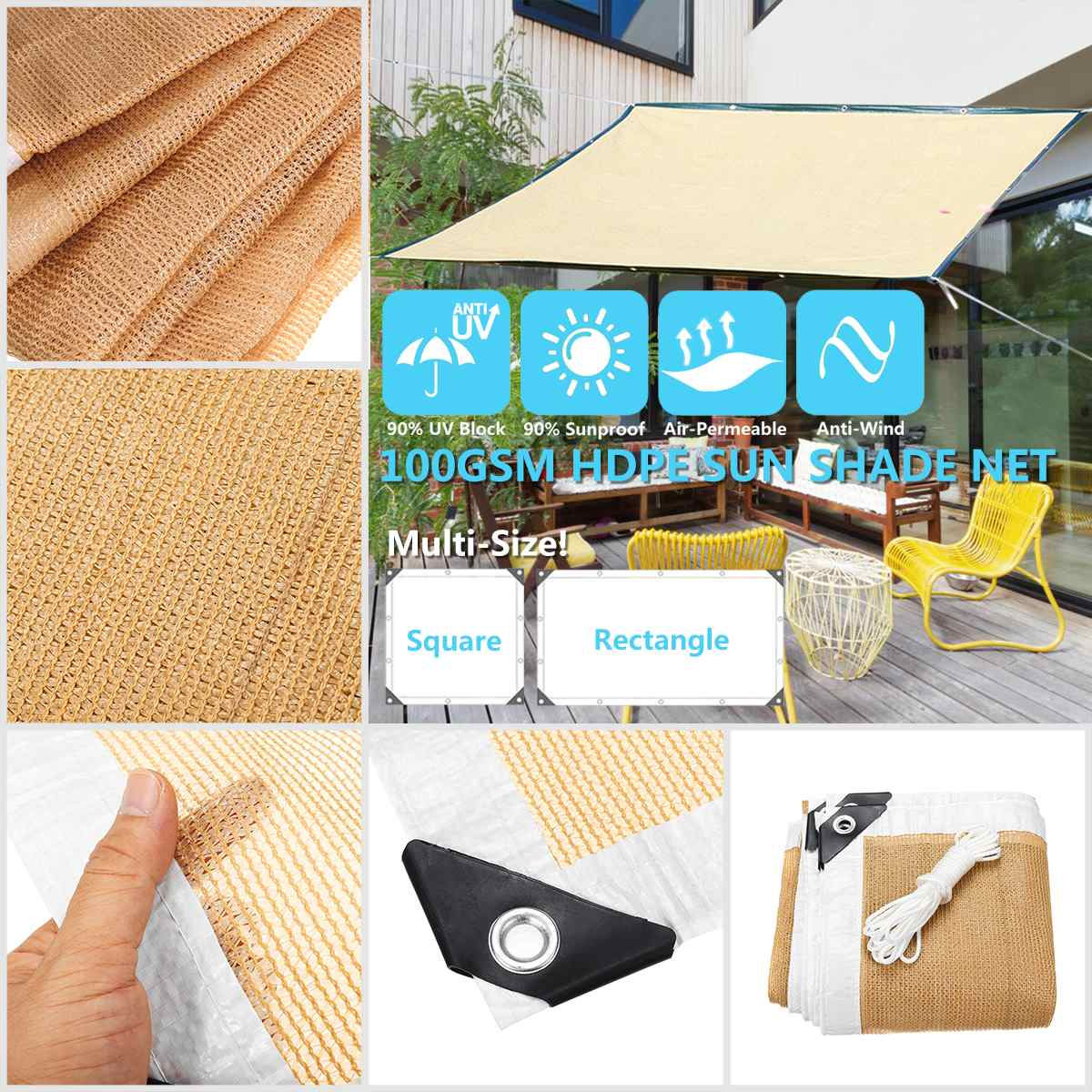 Outdoor sun shade sail garden netting 2 Sizes HDPE Anti-UV sunblock Netting