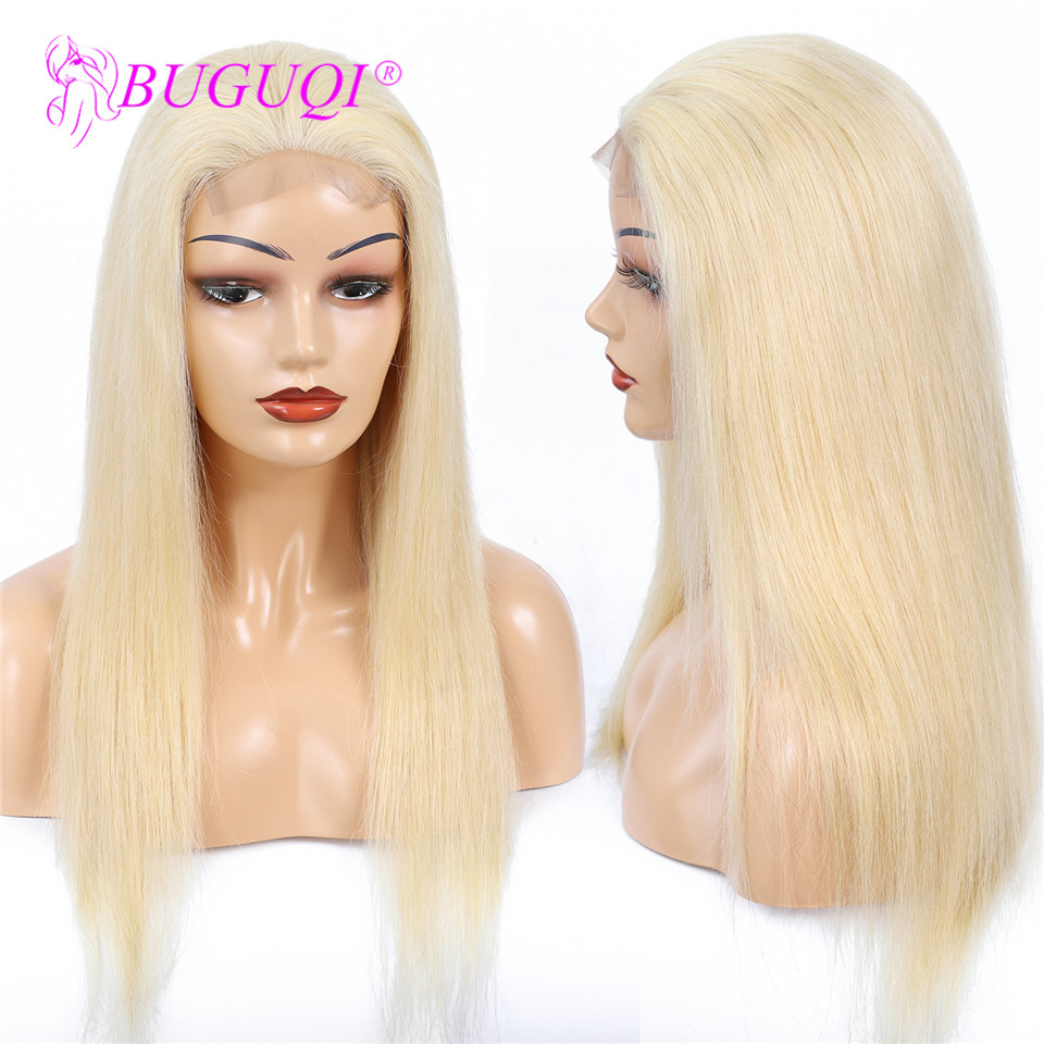 BUGUQI 4*4 #613 Lace Closure Human Hair Wigs Brazilian Straight Pre Plucked Honey Blonde Lace Frontal Wig Remy Human Hair