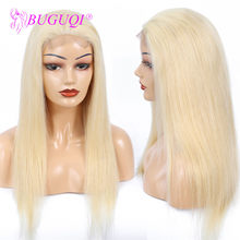 BUGUQI 4*4 #613 Lace Closure Human Hair Wigs Brazilian Straight Pre Plucked Honey Blonde Lace Frontal Wig Remy Human Hair(China)
