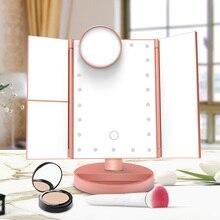 22 LED 조명 메이크업 거울 터치 스크린 LED 미러 미러 1X/2X/3X/10X 돋보기 180 학위 조절 테이블