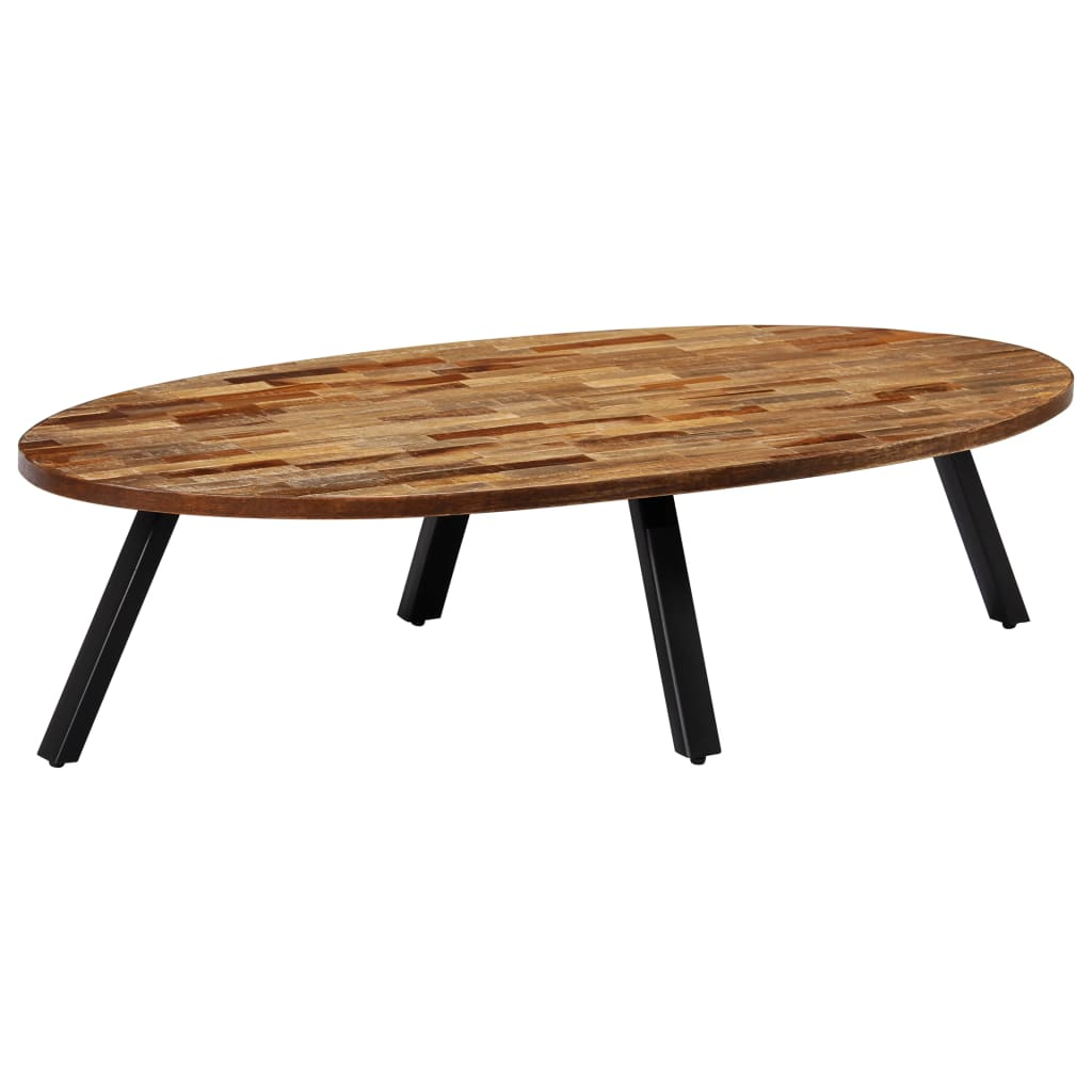 VidaXL Coffee Table Solid Reclaimed Teak Oval 120x60x30 Cm