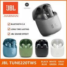 רשמי JBL מנגינה 220TWS אלחוטי Bluetooth אוזניות JBL T220TWS סטריאו אוזניות בס אוזניות קול אוזניות עם מיקרופון