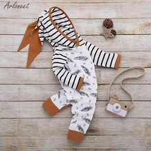 Infant Baby Girl Boy Hooded Feather Striped Romper Jumpsuit Clothes Set Newborn Cotton Long Sleeve Casual Outfits Fashion New(China)