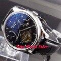 Parnis 43 มม.นาฬิกาผู้ชายอัตโนมัติ Date Power Reserve จอแสดงผลกันน้ำ Black dial สายหนังสีดำ-ใน นาฬิกาข้อมือกลไก จาก นาฬิกาข้อมือ บน