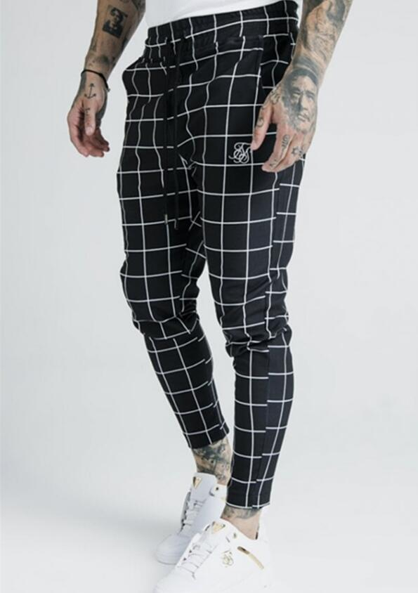 2019 Men's Fashion New Plaid Sik Silk Printing Casual Sweatpants Men's Street Hip Hop Fashion Slim Pants Polyester