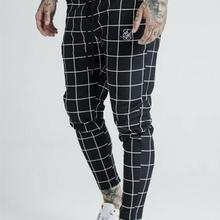 2019 men's fashion new plaid sik silk printing casual sweatpants men's street hi