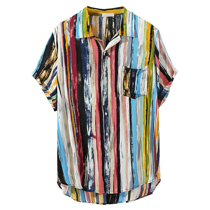 KLV Mens Shirt Multi Color Lump Chest Pocket Short Sleeve Round Hem Loose Shirts Blouse Graffiti Hawaiian Ethnic Style Shirt