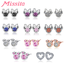MISSITA 2019 New Cute Cartoon Mickey Minnie Earrings for Women AAA Zircon Silver Jewelry Brand Anniversary Gift Dropshipping