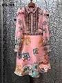 Mais recente designer de moda vestido 2020 primavera festa evento feminino vintage jacquard floral impressão plissado retalhos azul rosa vestido xl