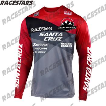 SANTA CRUZ Pro zjazdowa górska koszulka Motocross koszulka Enduro MTB MX BMX koszulka kolarska koszulka rowerowa DH Maillot Ciclismo Hombre tanie i dobre opinie RACESTARS Poliester Pełna RACESTARS - MTB Jersey Wiosna summer AUTUMN Winter Nie zamek Pasuje prawda na wymiar weź swój normalny rozmiar